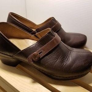 Dansko Brown Leather Clog 40 Button Detail